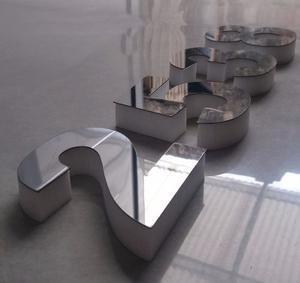 Numeros Acero Inoxidable 20cm Base Polifan 2cm X 4 Unidades