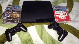 Playstation 3 slim 120gb + 2 joysticks