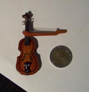 Violín miniatura, escala 1:12, casa de muñecas