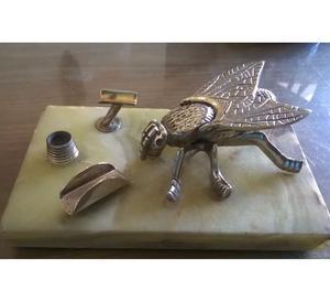 CENICERO ANTIGUO en bronce y mármol