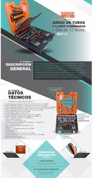 Caja Set De Tubos Y Llaves Bahco S87+7 Original (importada)