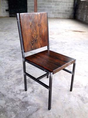 Estanteria industrial hierro y madera posot class for Muebles de hierro y madera