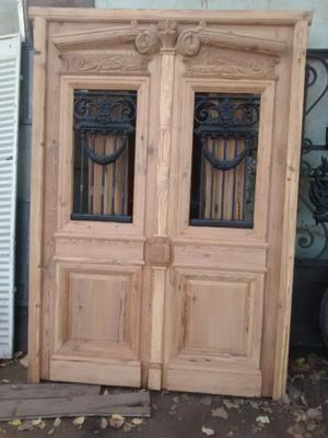 Puertas de cedro doble hoja con banderola posot class - Puertas doble hoja ...