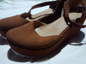 Zapatos color ladrillo num 36, simil gamuza