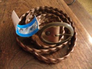 cinturón cobre bronce de pvc con etiqueta sin uso