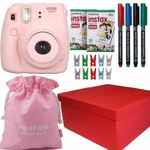 Caja Instax Mini 8 Rosa 20 Fotos 4 Marcadores Funda Broches