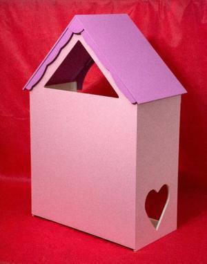 Casa de madera para muñecas Corazon Pintada con muebles