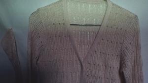 Saquito tejido rosa platinado