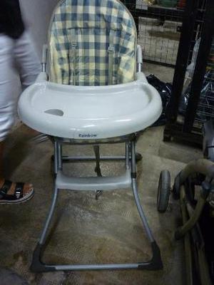 silla de comer para bebé plegable marca rainbow. con
