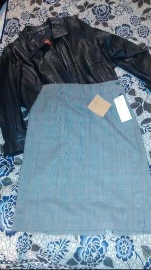 Campera de cuero y falda 100%algodon
