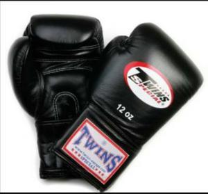 Guantes Twins Cuero Boxeo Negros