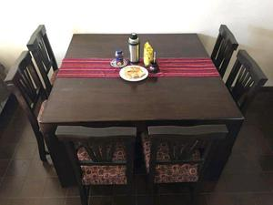 Juego comedor madera maciza 1,40 x 1,40 mas 8 sillas