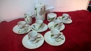 Juego de café TSUJI porcelana para 6 servicios, cafetera,
