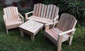 juego completo de sillones y mesa para exterior, hechos con