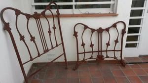 Cama de hierro de 1 plaza arenada con antioxido lista para