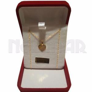 Conjunto Dije Corazon Oro Y Cadena De Oro Regalo Mujer 15