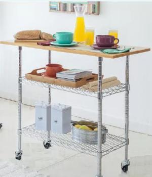 Mesa Desayunador Auxiliar Isla Arrime Madera Y Cromado Usada