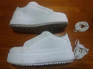 Vendo zapatillas blancas de plataforma TALLE 38