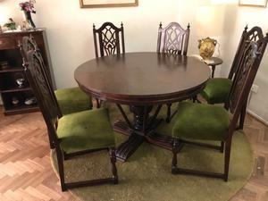 Juego comedor mesa redonda y 6 sillas tapizadas en pana