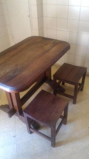 Mesa y banquetas en algarrobo estilo rustico posot class for Mesa algarrobo usada