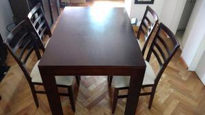 Mesa de diseño con 4 sillas 1.2mx80cm