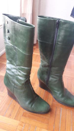 botas de cuero caña alta color verde-muy poco uso