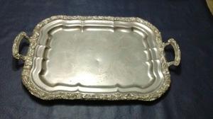 Bandeja bañada en plata rectangular-Rep Sheffield Plate