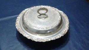 Bandeja bañada en plata redonda con tapa-Rep Sheffield