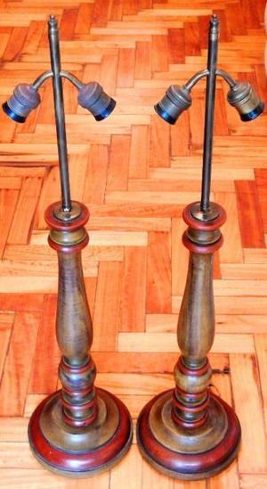 Par de lamparas antiguas de madera y bronce - Hermosas!!