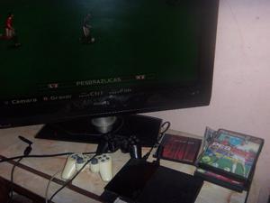 Playstation 2 slim, cables, 2 joysticks, memoria,