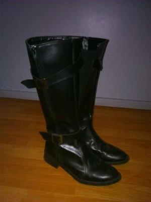 botas de cuero nuevas negras, taco bajo, caña alta, talle
