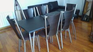 mesa y sillas de caño y madera