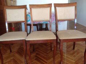 Juego de 6 sillas de madera tapizadas
