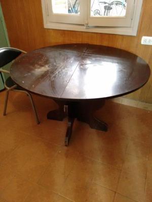 Mesa redonda de madera maciza plegable antigua