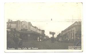 Posadas Antigua Postal Vista De La Calle Del Centro