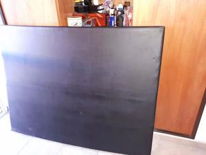 Respaldo de Cama/Sommier 2 plazas Negro Liso Cuerina 1.20cm