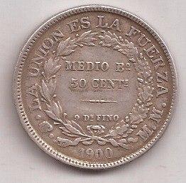 Bolivia Antigua Moneda De Plata  Centavos Año