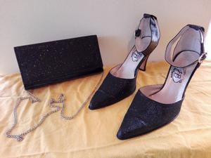 Combo, calzado más cartera de fiesta color negro 39