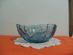 Frutera/centro de mesa de vidrio azul vintage