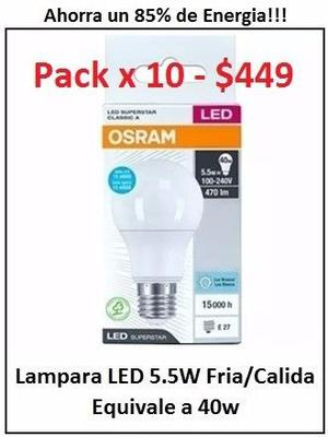 Lampara Led OSRAM Fria/Calida 5,5w x 10 Unid $449