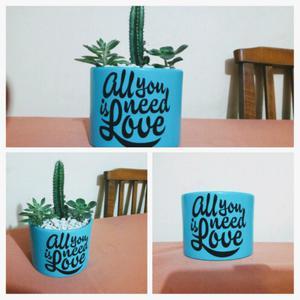 Macetas de barro pintadas con frases y suculentas/cactus