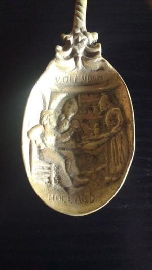 Antiguo Juego De Cuchara Y Tenedor De Bronce Macizo Holland