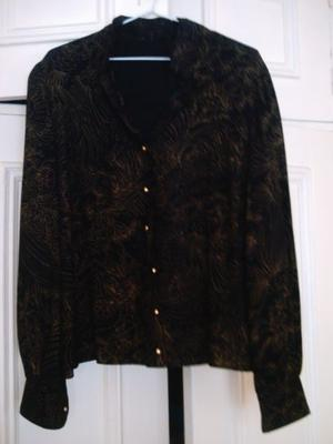 Blusa de vestir negra con brillos señora T. 5