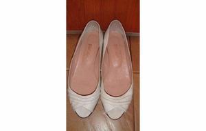Zapatos Chatas Chatitas Paruolo Cuero Vacuno Blanco Talle 37