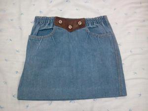 mini de jean estilo retro-vintage con aplique de gamuza y