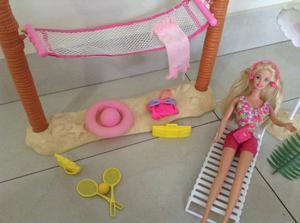 Set Playa C/ Muñeca Barbie Original Año 90' Excelente