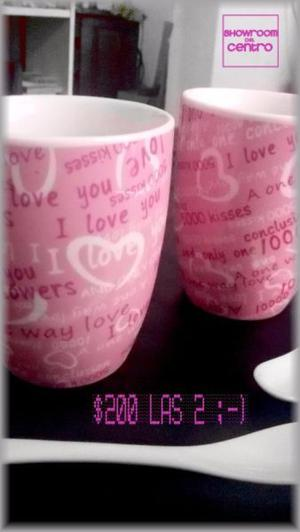 Tazas con diseño de corazones en Porcelana