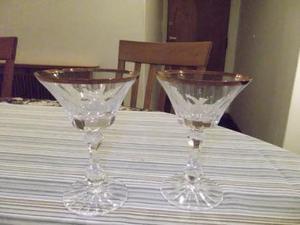 copas de champagne cristal tallado con borde dorado