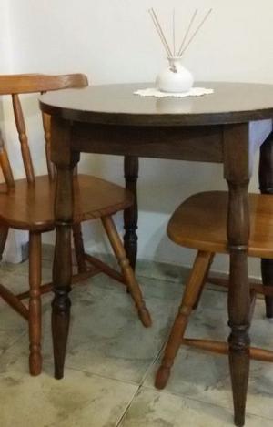 Juego mesa tipo bar desayunador roble y 2 sillas windsor