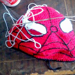 gorro tejido a crochet no en serie del hombre araña